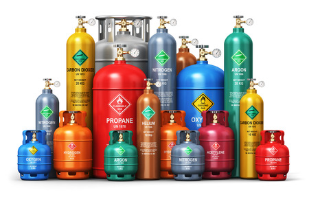 Creative abstract fuel industry manufacturing business concept: 3D render illustration of the set of color metal steel containers or cylinders with different liquefied compressed natural gases LNG or LPG with high pressure gauge meters and valves isolated Stockfoto