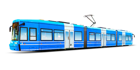 streamlined: Creative abstract city transportation and business travel technology industrial concept: blue modern streamlined urban tram isolated on white background