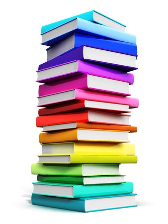 Concepto abstracto creativo de la ciencia, del conocimiento, de la educación, de la vuelta a la escuela, del negocio y de la oficina corporativa de la vida: 3D rinden el ejemplo de la alta pila grande o pila de libros de tapa dura del color aislados en el fondo blanco