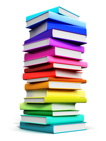 Creative abstract science, knowledge, education, back to school, business and corporate office life concept: 3D render illustration of the big high stack or pile of color hardcover books isolated on white background
