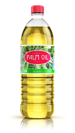3D render illustration of plastic bottle of yellow refined vegetable palm cooking oil or organic fat isolated on white background with reflection effect Stock Photo