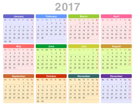 january 1st: Color vector illustration of 2017 year annual calendar (Monday first, English) isolated on white background