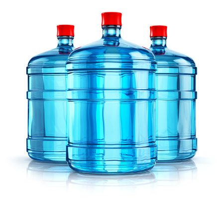 3D render illustration of the group of three blue 19 liter or 5 gallon plastic water bottles or containers isolated on white background with reflection effect Stock Photo
