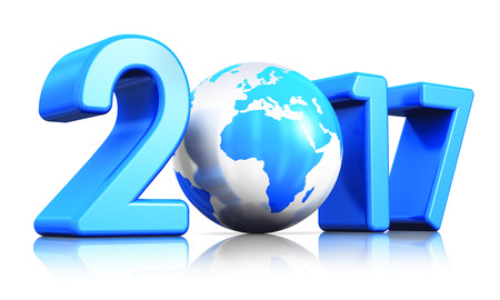 Creative abstract New Year 2017 beginning celebration concept: 3D render illustration of the blue glossy Earth globe isolated on white background with reflection effect Standard-Bild