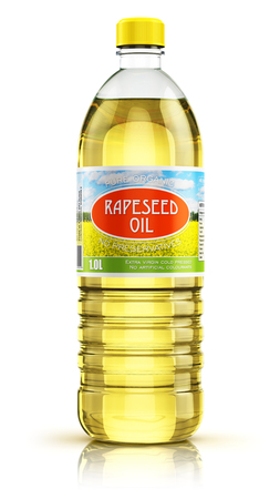3D render illustration of plastic bottle of yellow refined vegetable rape or rapeseed cooking oil or organic fat isolated on white background with reflection effect