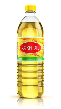 plastico pet: 3D render illustration of plastic bottle of yellow refined vegetable corn cooking oil or organic fat isolated on white background with reflection effect Foto de archivo