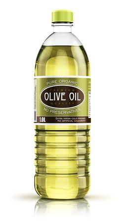 3d Ilustración de botella de plástico de aceite refinado de oliva para cocinar vegetales de color amarillo o grasa orgánica aislada en el fondo blanco con efecto de reflexión