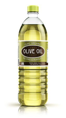 3D render illustration of plastic bottle of yellow refined vegetable olive cooking oil or organic fat isolated on white background with reflection effect Foto de archivo
