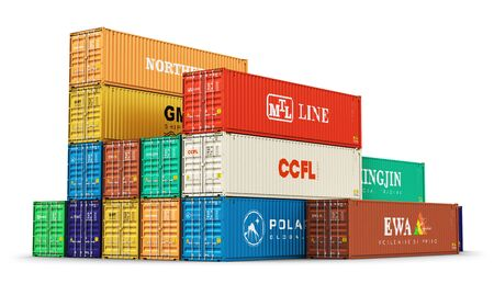 merchandize: Creative abstract shipping, logistics and freight transportation commercial business trading industrial concept: 3D render illustration of the group of color 40 ft stacked metal heavy cargo containers isolated on white background