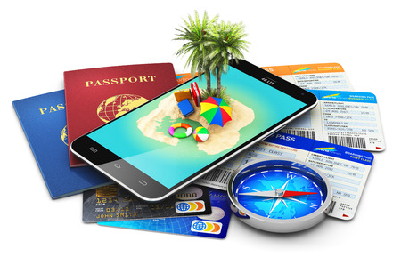 boarding card: Creative abstract travel, tourism, summer holidays and vacations concept: 3D render illustration of modern black glossy touchscreen smartphone with tropical island and palm tree, international biometric passports, air tickets or boarding pass, magnetic co