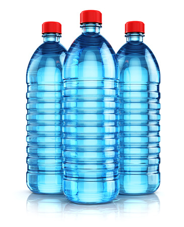 purified: 3D render illustration of the group of three blue plastic bottles with clear purified drink carbonated water isolated on white background with reflection effect