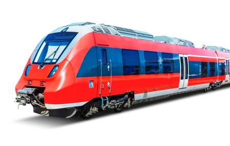Creative abstract railroad travel and railway tourism transportation industrial concept: red modern high speed passenger commuter train isolated on white background Archivio Fotografico