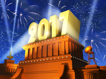 Creative abstract New Year 2017 celebration concept: 3D render illustration of the shiny golden 2017 text on pedestal at night with fireworks in cinema style