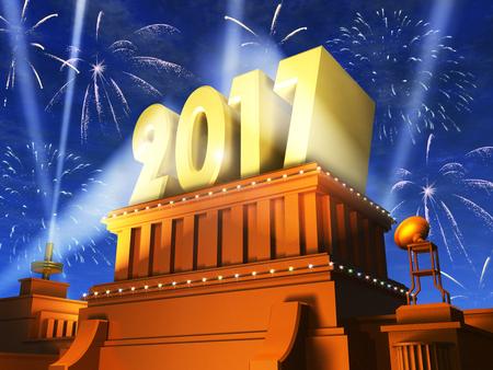 Creative abstraktní nový rok 2017 oslavy koncept: 3D vykreslování ilustrace lesklé zlaté 2017 text na podstavci v noci s ohňostrojem v kině stylu