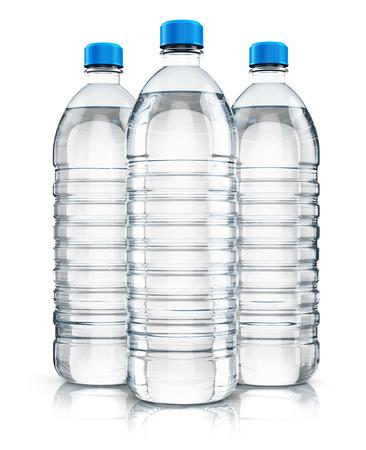3d Ilustración del grupo de tres botellas de plástico con agua purificada bebida carbonatada claro aislado en el fondo blanco con efecto de reflexión