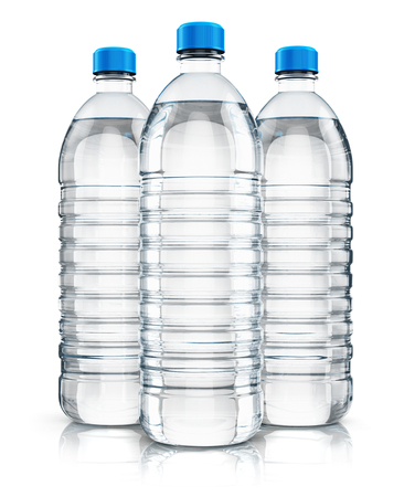 purified: 3D render illustration of the group of three plastic bottles with clear purified drink carbonated water isolated on white background with reflection effect