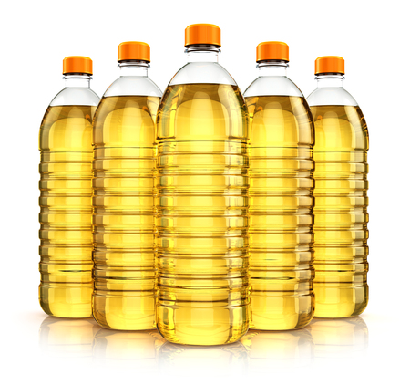 3D render illustration of the group of five plastic bottles with yellow refined vegetable cooking oil or organic fat isolated on white background with reflection effect