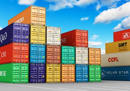 Kreative abstrakten Frachtgütertransport, Versand, Logistik, Lieferung und Verteilung von kommerziellen Business-Konzept: 3D-Darstellung der Gruppe von gestapelten 40 ft Farbe Metall schwere Behälter in Seehafen-Terminal machen