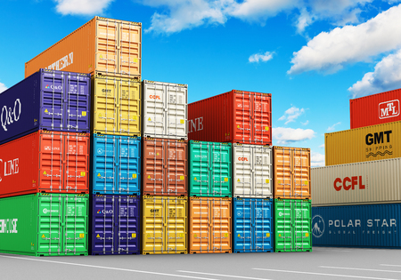 Creative abstract cargo freight transportation, shipping, logistics, delivery and distribution commercial business concept: 3D render illustration of the group of stacked 40 ft color metal heavy containers in sea port terminal Stock Photo