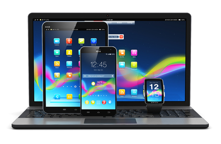 Creative abstract mobility and modern internet business communication technology web concept: 3D render illustration of modern mobile devices - black glossy touchscreen smartphone or mobile phone, tablet computer PC, laptop or notebook and smartwatch or c