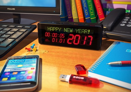 new beginning: Creative abstract New Year 2017 beginning celebration business concept: 3D render illustration of the macro view of digital alarm clock with Happy New Year! message on wooden table among office objects - smartphone or mobile phone, desktop computer PC, no