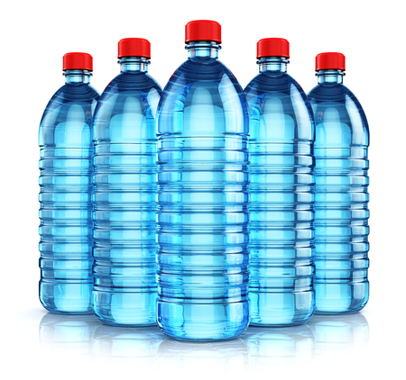 carbonated: 3D render illustration of the group of five blue plastic bottles with clear purified drink carbonated water isolated on white background with reflection effect