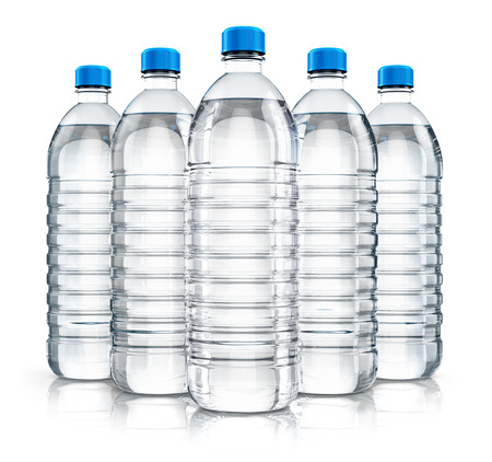 purified: 3D render illustration of the group of five plastic bottles with clear purified drink carbonated water isolated on white background with reflection effect