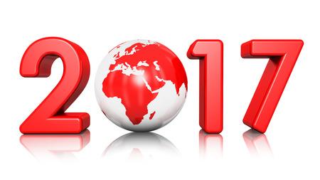 3D render illustration de création abstraite nouvelle année 2017 commence concept célébration rouge brillant globe terrestre isolé sur fond blanc avec effet de réflexion