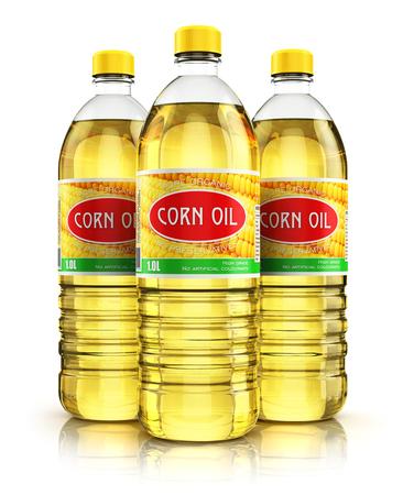 3D mit Reflexion Wirkung Darstellung der Gruppe von drei Plastikflaschen mit gelben raffinierten Pflanzenmaisspeiseöl oder Bio-Fett isoliert auf weißem Hintergrund machen