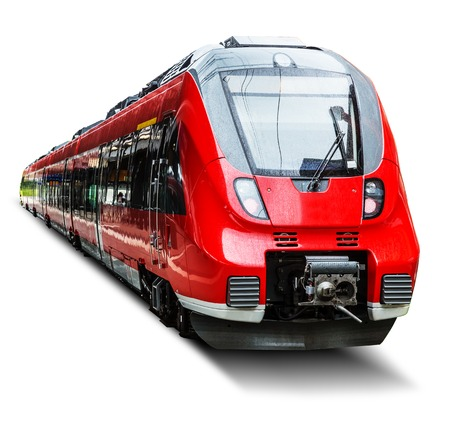 Creative abstract railroad travel and railway tourism transportation industrial concept: red modern high speed passenger commuter train isolated on white background Standard-Bild
