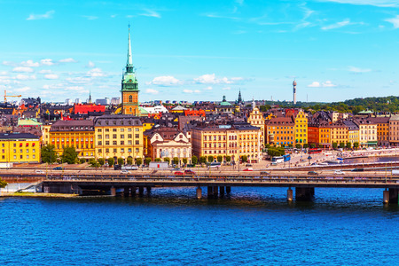 the old town hall: Scenic summer panorama of the Old Town (Gamla Stan) architecture pier in Stockholm, Sweden Stock Photo
