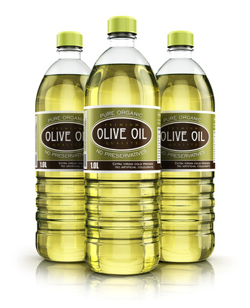 3D render illustration of the group of three plastic bottles with yellow refined vegetable olive cooking oil or organic fat isolated on white background with reflection effect Stock Photo