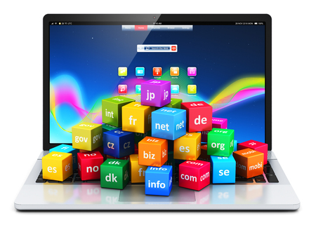 international internet: Creative abstract global internet communication PC technology and web telecommunication business computer concept: 3D render illustration of the group of color icons or buttons with domain names and laptop or notebook isolated on white background with ref