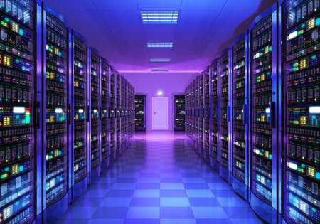 Modern web network and internet telecommunication technology, big data storage and cloud computing computer service business concept: 3D render illustration of the server room interior in datacenter in blue light Standard-Bild