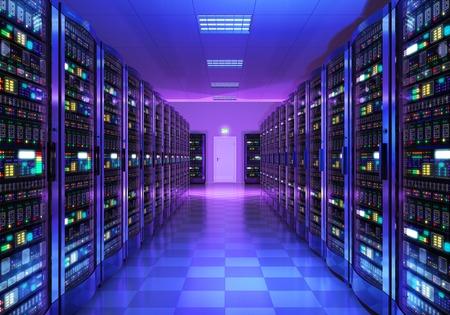réseau moderne de web et de la technologie de télécommunication Internet, grand stockage de données et le concept service informatique de l'entreprise de cloud computing: rendu 3D illustration de l'intérieur de la salle des serveurs de centre de données à la lumière bleue Banque d'images
