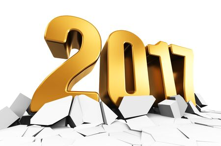 3D render illustration of creative abstract New Year 2017 beginning celebration concept on cracked surface isolated on white background Stock Photo