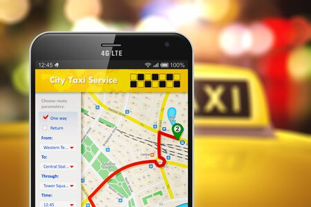 Creative abstract travel, tourism sightseeing and internet web taxi service app business transportation concept: 3D render illustration of modern metal black glossy touchscreen smartphone with online satellite GPS taxi application software on screen with