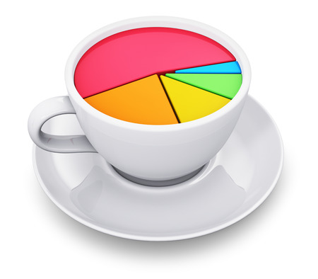creative money: Creative abstract business success, banking, financial management and corporate accounting stock exchange market data and making money commercial concept: 3D render illustration of porcelain or china coffee cup or mug with color pie chart or graph isolate