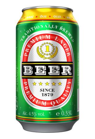 3D abstracto creativo rinden la ilustración de la cerveza de metal puede, objeto botella o lata de bebida de alcohol aislado en el fondo blanco