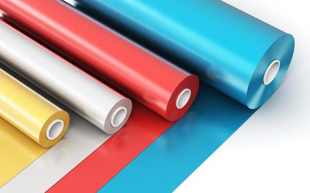3D abstracto creativo ilustración de procesamiento de los rollos de PVC color cinta de plástico de polietileno o papel de aluminio aislados en el fondo blanco Foto de archivo