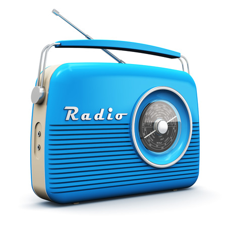 Creative abstract 3D render illustration of the old blue vintage retro style radio receiver isolated on white background