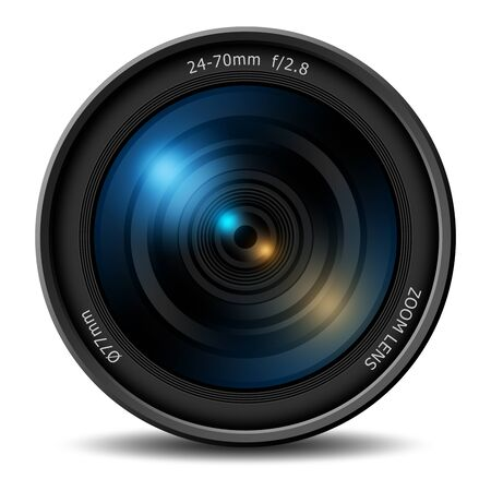 Creative abstract 3D render illustration of professional digital photo or video camera 24-70 mm zoom lens isolated on white background