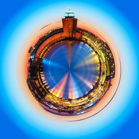 Mini planet with scenic summer evening panorama of the Old Town (Gamla Stan) architecture pier and City Hall in Stockholm, Sweden Stock Photo