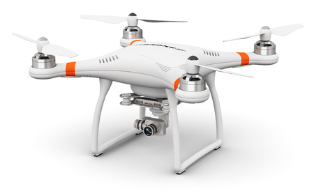 크리 에이 티브 추상 3D 렌더링 흰색 배경에 고립 된 항공 사진에 대 한 4 K 비디오 및 사진 카메라와 전문 원격 제어 무선 RC quadcopter 드론의 그림