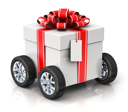 Creative abstract Christmas or Xmas, New Year or birthday gift or present shipping, logistic and delivery business commercial concept: 3D render illustration of tradition celebration gift box with car auto truck wheels, ribbon bow and label tag isolated o Stock Photo