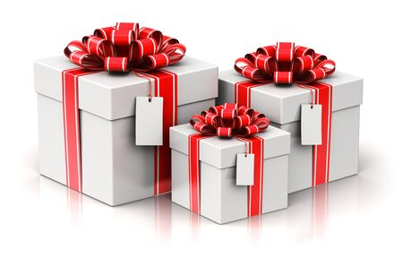 Creative abstract Christmas or Xmas, New Year or birthday tradition celebration concept: 3D render illustration of the group or set of three red color gift or present box containers with shiny colorful metallic ribbon bows and label tags isolated on white