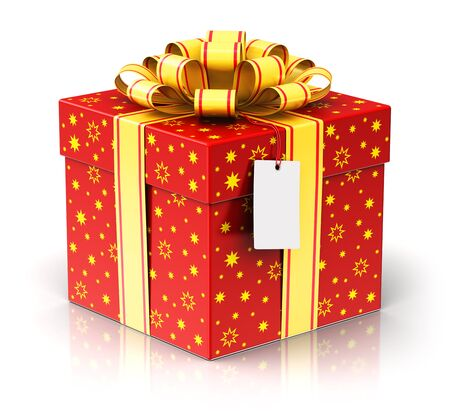 color of year: Creative abstract Christmas or Xmas, New Year or birthday tradition celebration concept: 3D render illustration of red color gift or present box container with shiny colorful metallic ribbon bow and label tag isolated on white background with reflection e