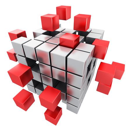 Creatief abstract bedrijfsgroepswerk, Internet en communicatie concept: 3D geef illustratie van metaal kubieke structuur terug met het assembleren van rode metaalkubussen die op witte achtergrond worden geïsoleerd