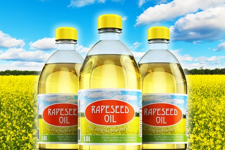 cooking oil: Creative abstract 3D render illustration of the group of three plastic bottles with yellow refined vegetable rapeseed cooking oil or organic fat against rape seed flower field and blue sky with clouds with selective focus effect Stock Photo