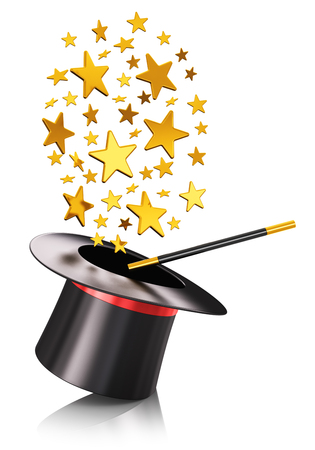 shiny gold: Creative abstract 3D render illustration of the black silk magic hat with red ribbon and magic wand stick with cloud of shiny gold stars isolated on white background with reflection effect Stock Photo